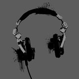 Headphones stencil vector. Headphones stencil Grayscale vector for use Stock Photography