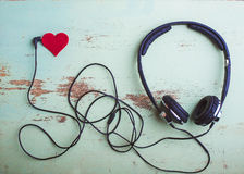 Headphones symbol Valentine Stock Images