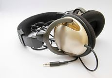 Headphones on a table Royalty Free Stock Photo
