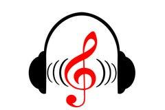 Headphones and treble clef Stock Image