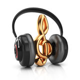 Headphones and treble clef Stock Images