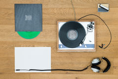 Headphones With Turntable And Records On Table Royalty Free Stock Photos