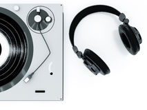 Headphones and turntable Stock Photography