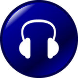 Headphones vector button Royalty Free Stock Photos