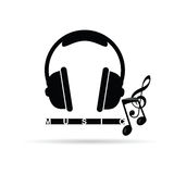 Headphones vector with music notes illustration Royalty Free Stock Images