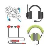 Headphones vector set. Royalty Free Stock Photo