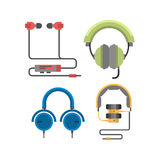 Headphones vector set. Royalty Free Stock Images
