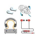 Headphones vector set. Headphones vector set music technology accessory. Studio sound design collection on white background. Dj speaker equipment small element Stock Photo