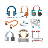 Headphones vector set. Headphones vector set music technology accessory. Studio sound design collection on white background. Dj speaker equipment small element Stock Image
