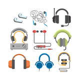 Headphones vector set. Headphones vector set music technology accessory. Studio sound design collection on white background. Dj speaker equipment small element Stock Images