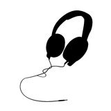 Headphones vector silhouette. Vectored silhouette for professional big headphones isolated Royalty Free Stock Images