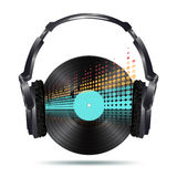 Headphones with vinyl disk Royalty Free Stock Image