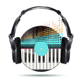 Headphones with vinyl disk and equalizer Royalty Free Stock Images