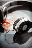 Headphones with vinyl record Royalty Free Stock Photos