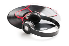 Headphones and vinyl record Royalty Free Stock Images