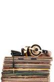 Headphones and vinyl records. Royalty Free Stock Photos