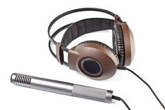 Headphones and vocal microphone Royalty Free Stock Image
