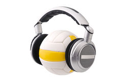 Headphones on a volleyball ball Stock Image