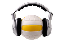 Headphones on a volleyball ball Royalty Free Stock Image