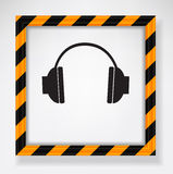 Headphones warning Stock Images