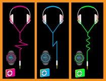 Headphones watch mp3 Stock Photos
