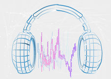 Headphones and wave Stock Image