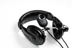 Headphones and webcam. Headphones with a microphone and webcam Royalty Free Stock Photos