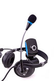 Headphones and webcam Royalty Free Stock Photo