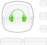 Headphones white button. Royalty Free Stock Photos