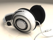 Headphones White Left Low DOF Royalty Free Stock Image