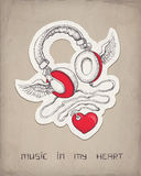 Headphones with wings and heart Stock Photos