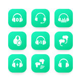 Headphones, wireless earbuds, headsets icons. Eps 10 file, easy to edit vector illustration