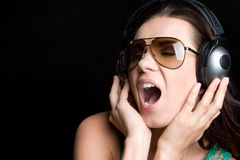 Headphones Woman Stock Photography