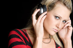 Headphones Woman Stock Images
