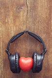 Headphones on wood Stock Photo