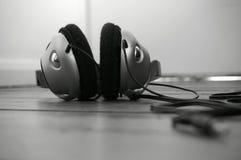 Headphones wooden floor B Royalty Free Stock Photo