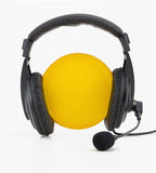 Headphones yellow circle Royalty Free Stock Photography
