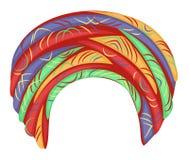 Headpiece f?mea para a mulher, turbante Um lenço brilhante feito malha brilhante Roupa bonita e ? moda nacional Ilustra??o do vet ilustração royalty free