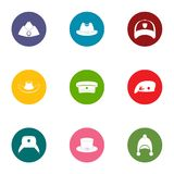 Headpiece icons set, flat style. Headpiece icons set. Flat set of 9 headpiece vector icons for web isolated on white background Royalty Free Stock Image