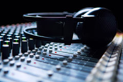 Headpnones on sound mixer Stock Images