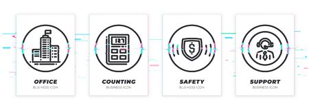 Headquarters, calculation, safity, support. Business theme glitched black icons set. vector illustration