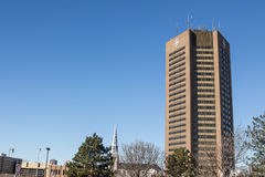 Headquarters of Canadian Broadcasting Corporation CBC for Quebec in Montreal. The Canadian Broadcasting Corporation French: Société Radio-Canada, branded stock photos