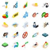 Headquarters icons set, isometric style Stock Image