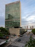 Headquarters of United Nations in New York City. NEW YORK, NY - 4 JUNE 2018: Headquarters building of the United Nations or UN in New York City stock images