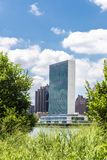 Headquarters of the United Nations UN in New York City, USA. Headquarters of the United Nations UN and the Manhattan skyline as seen from Roosevelt Island royalty free stock photography
