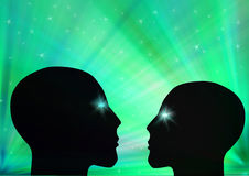 The heads. 2 humanoid heads looking at eachother, in love Royalty Free Stock Images
