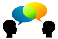 Heads. Illustration of two persons exchanging opinions or thoughts Stock Photo