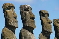 Heads of Ahu Akivi, Easter Isl. Ahu Akivi - the only ahu, where the moais are looking to the ocean on the Easter Island royalty free stock images