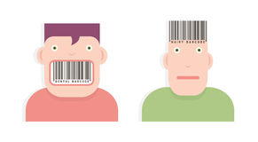 Heads with barcodes Stock Photo
