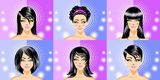 Heads of beautiful women brunettes Royalty Free Stock Image